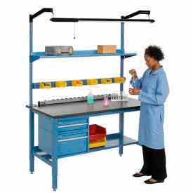 Heavy Duty Height Adjustable Lab Bench - Blue