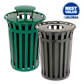 Global™ Outdoor Metal Slatted Waste Receptacles