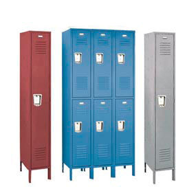 Penco 68333R0285-SU Recessed Handle Triple Tier Locker 12x12x24 Assembled 3 Wide Gray
