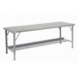 "120"" W x 48"" D Heavy-Duty Extra Long Folding Assembly Workbench - Gray"