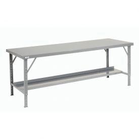 "120"" W x 48"" D Heavy-Duty Extra Long Folding Assembly Workbench - Gray"