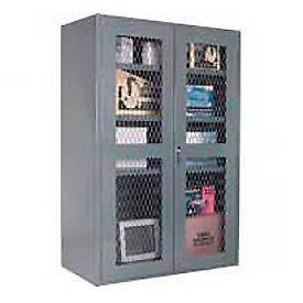 Durham 14 Gauge Heavy Duty Expanded Metal Mesh Door Cabinet - 700 & 900 LB. Shelf Capacity
