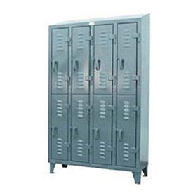 Strong Hold® Heavy Duty Slim-Line Locker 46-18-2TSL-SL - Slope Top Double Tier - 50x18x72