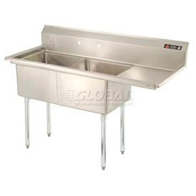 Freestanding Two Compartment Sinks With Right Drainboards