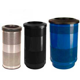 Stadium Series® Perforated Steel Trash Receptacles