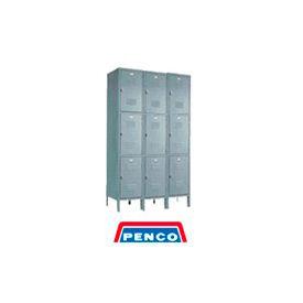 Penco 6321V-3-028KD Door Pull Handle Triple Tier Locker 12x15x24 Unassembled 3 Wide Gray