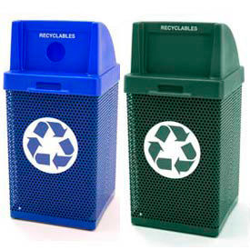 Perforated Metal Coated Recycling Receptacles