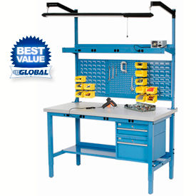 Heavy Duty Height Adjustable Production Workbench - Blue