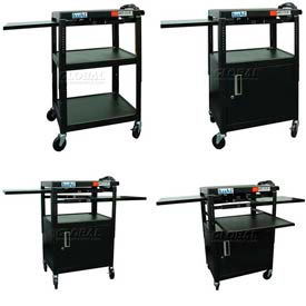 Buhl Adjustable Steel Audio Visual Carts With Pull Out Shelves