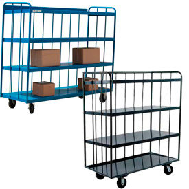 Sloped Steel Three-Sided Slatted Panel Shelf Trucks