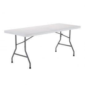 6' Plastic Folding Table - White