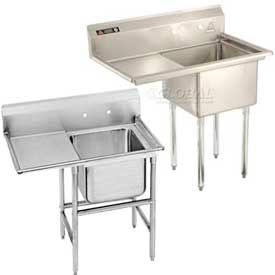Freestanding One Compartment Stainless Steel Sinks With Left Drainboards