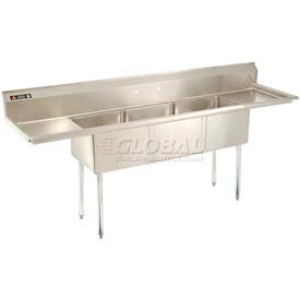 Freestanding Three Compartment Sinks With Two Drainboards