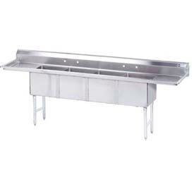 Freestanding Four Compartment Sinks With Two Drainboards