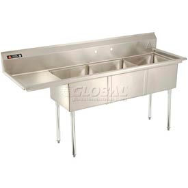 Freestanding Three Compartment Sinks With Left Drainboards