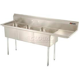 Freestanding Three Compartment Sinks With Right Drainboards