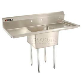 Freestanding One Compartment Stainless Steel Sinks With Two Drainboards
