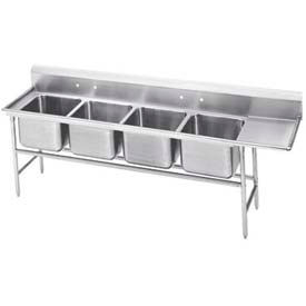 Freestanding Four Compartment Sinks With Right Drainboards