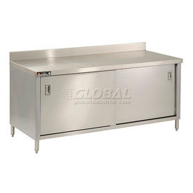 Deluxe Stainless Steel 4 Inch Backsplash Cabinet Tables With Sliding Doors