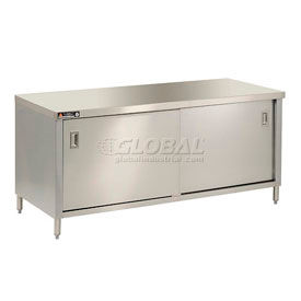 Economy Stainless Steel Flat Top Cabinet Tables With Sliding Doors