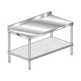 Economy Stainless Steel Work Table With Galvanized Lower Shelf – 4 Inch Backsplash