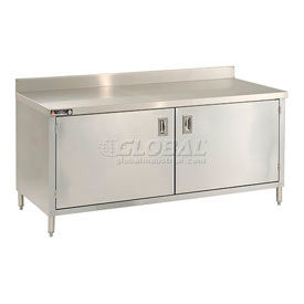 Deluxe Stainless Steel 4 Inch Backsplash Cabinet Tables With Hinged Doors