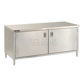 Deluxe Stainless Steel Flat Top Cabinet Tables With Hinged Doors