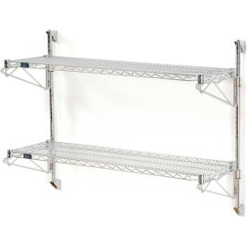 "Nexel Wall Mount Wire Shelving 42""W x 14""D x 34""H 2-Shelf Starter-Chrome"