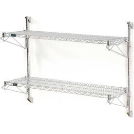 "Nexel Wall Mount Wire Shelving 48""W x 14""D x 34""H 2-Shelf Starter-Chrome"
