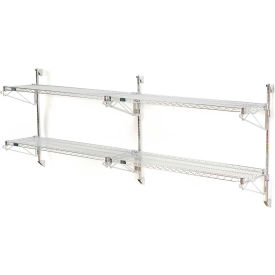 "Nexel Wall Mount Wire Shelving 48""W x 24""D x 34""H 2-Shelf Add-On-Chrome"