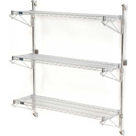"Nexel Wall Mount Wire Shelving 24""W x 18""D x 54""H 3-Shelf Starter-Chrome"
