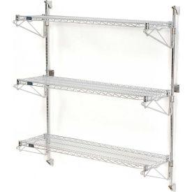 "Nexel Wall Mount Wire Shelving 48""W x 14""D x 54""H 3-Shelf Starter-Chrome"
