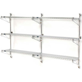 "Nexel Wall Mount Wire Shelving 72""W x 24""D x 54""H 3-Shelf Add-On-Chrome"