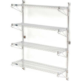 "Nexel Wall Mount Wire Shelving 42""W x 24""D x 63""H 4-Shelf Starter-Chrome"