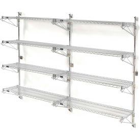 "Nexel Wall Mount Wire Shelving 48""W x 14""D x 63""H 4-Shelf Add-On-Chrome"