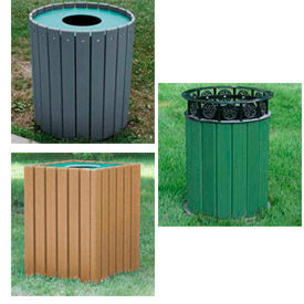 Jayhawk Plastics Square Recycled Resinwood Trash Receptacles