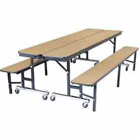 National Public Seating® - Portable Convertible Bench Unit with Optional Ganging Device