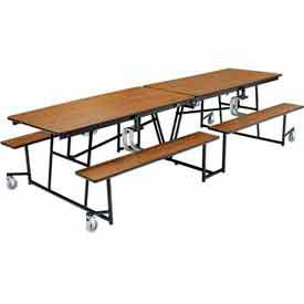 National Public Seating® - Mobile Cafeteria Tables with Fixed / Folding Benches