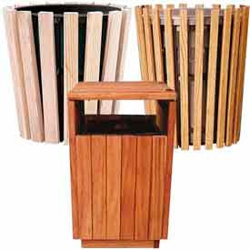 Outdoor Wooden Waste Receptacles