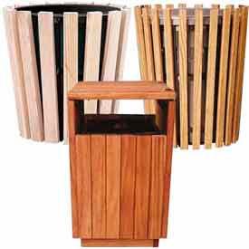 Outdoor Wooden Waste Receptacles