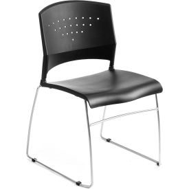Boss Chair -  Black Stack Chair With Chrome Frame