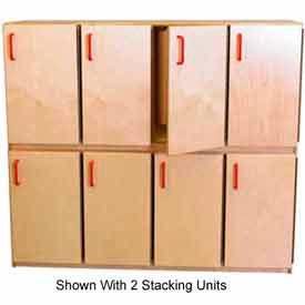 Wood Finished Kids Stacking Lockers