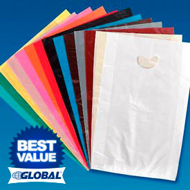 .7 Mil EZ Open Embossed Merchandise Bags with Die Cut Handles