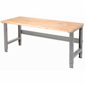 "60""W X 30""D Maple Butcher Block Safety Edge Work Bench - Adjustable Height - 1 3/4"" Top - Gray"