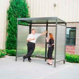 Heavy Duty Bus Smoking Shelter Steel Flat Roof 4'x8'x75""