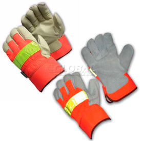 Hi-Vis Leather Palm Gloves