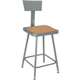 Interion™ Steel Shop Stool w/Back Rest & Manual Hgt. Adj./18= - 27= - Pkg Qty 2