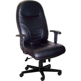 Ortho High-Back Leather Task Chair - Black