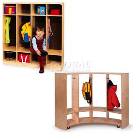 Pre-School Kid Wood Coat Lockers Open Front