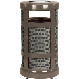 "Rubbermaid® Combo Sand Top Urn & Trash Receptacle, Bronze, 17 Gallon, 18"" Dia x 34""H"